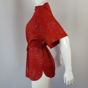 Vintage Red Jeweled Tunic Top